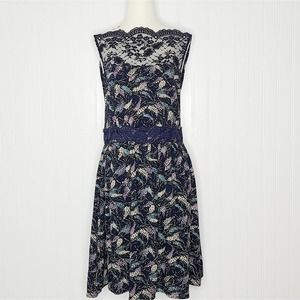 Free People Navy tea for two lace trim dress sz M